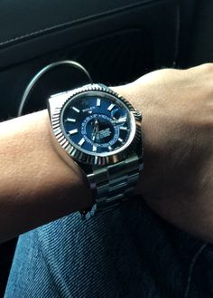 Rolex Sky-Dweller Steel with blue dial. The most complicated modern Rolex. A rare find, and if available, would be sold at premium price. But it didn't stop me for getting this baby. Trade my blue Datejust (it's too similar) and my Royal Oak to get one. Worth the price? Definitely.