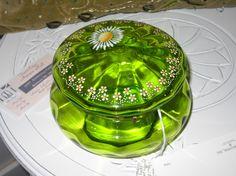 Green Glass Dresser Jar