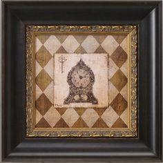 """VISSER CRYSTAL JEWELED HARLEQUIN CLOCK FRAMED PICTURE 20"""" X 20"""" 💕SHOP💕 www.crownjewel.design"""
