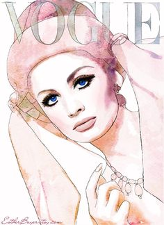 Fashion Illustration by Esther Bayer     Mauve, hat, veil, art, watercolor, mod, mixed media, drawing, vintage vogue, painting, blue, pink, purple, eyes, mod, bow, eyelashes