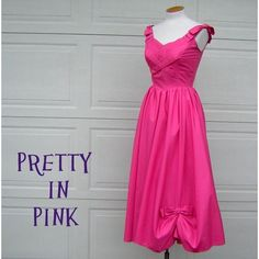 Vintage 60s MadMen Hot Pink Party Dress Full by DecadencePast ($125) ❤ liked on Polyvore