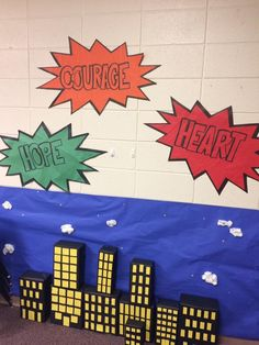 "What a wonderful set! Love the use of the Hero Code key words used in burst shapes. Use of the blue paper along with the ""buildings"" make for a great looking type of set. Use any size of empty, clean box. Cover with black duct tape or papers and paints Vacation Bible School 2017, Hero Central Vbs, Bible Heroes, Bible School Crafts, Vbs Crafts, Religious Education, Kids Church, Superhero Party, Sunday School"