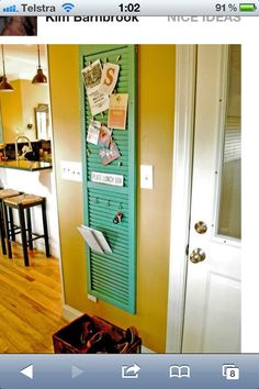Kitchen notice board - (I have some slotted bi-fold doors I've been looking to re-purpose. This would be perfect for one of them!)