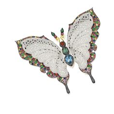 ICY JADEITE, JADEITE, COLOURED DIAMOND AND GEM-SET 'BUTTERFLY' BROOCH The intricately carved icy jadeite wings set on an elevated mount, enhanced by pavé-set circular-cut coloured sapphires and jadeite cabochons, to the thorax set with coloured topaz and citrine, bordered by pavé-set  brilliant-cut diamonds of brownish hues, the antennas accented by green and red tourmalines, the sapphires, coloured gems and diamonds  respectively, mounted in 18 karat yellow and blackened gold.