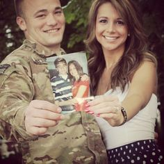 holding first picture. way cute engagement photo Wedding Wishes, Wedding Pics, Dream Wedding, Perfect Wedding, Wedding Ideas, Military Wedding, Military Love, Military Couples, Couple Photography