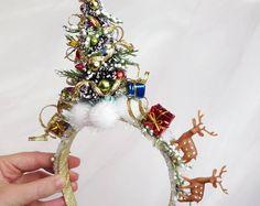 Christmas Hair Accessories for Adults Party por TinseledTiara Christmas Tree Headband, Christmas Headpiece, Christmas Hair, Ugly Christmas Sweater, Christmas Time, Christmas Crafts, Reindeer Headband, Snowman Hat, Christmas Ideas