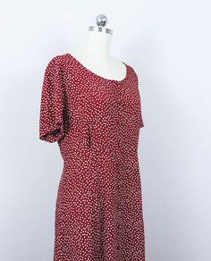 90s Betsey Johnson Rayon Maxi Grunge Dress/ 1990s Doing 40's Homemaker Crimson Polka Dot Vintage Dress/  Size Small S Medium M by poetryforjane on Etsy