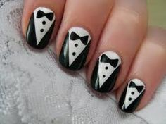tuxedo nails  super easy to do