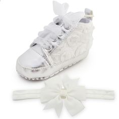 4d5b46150d93 First Walker Rose Flower Baby Girl Shoes and bow headband