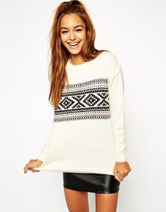 Image 1 of ASOS Sweater In Brushed Fairisle