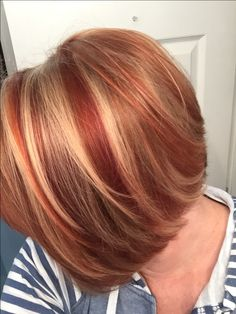- All For Hair Color Trending Red Hair With Blonde Highlights, Red Blonde Hair, Chunky Highlights, Caramel Highlights, Black Hair, Bob Hair Color, Hair Color And Cut, Biolage Hair, Auburn Hair