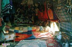 Inside a bender shelter