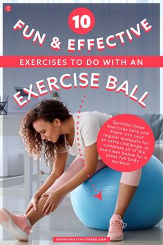Exercise balls - also known as stability balls, balance balls, or swiss balls - are not only fun, but they're also a great way to add variety to your fitness routine, and challenge and improve your strength and stability! Below I've collected 10 of my favorite exercise ball moves, as well as my top tips for making the most of your exercise ball workout at home! #sunnyhealthfitness #exerciseball #swissball #stabilityball Health And Fitness Articles, You Fitness, Health Fitness, Single Leg Glute Bridge, Exercise Balls, Hamstring Curls, Lower Back Muscles, Stability Ball, Benefits Of Exercise