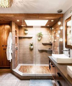 Dream shower!! Teak floors in a walk in shower