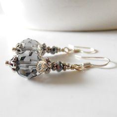 Gray Bridesmaid Jewelry Crystal Earrings by FiveLittleGems on Etsy