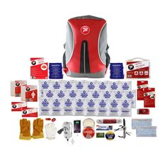 2 Person Backpack Emergency kit containing comprehensive survival items such as a supply of Datrex Food and Water, Hand Crank Radio, Flashlight, and more. Emergency Survival Kit, Emergency Food, Canadian Coast Guard, Emergency Candles, Water Purification Tablets, Masonry Work, Earthquake Kits, Waterproof Backpack, Work Gloves
