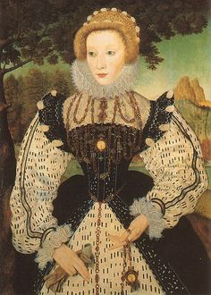 Portrait of an unknown lady, ca. 1560, by an unknown English artist. National Portrait Gallery, London.