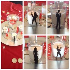 007 Casino Royale theme party centerpieces. Martini glass center with floating candle and vinyl stickers for votives
