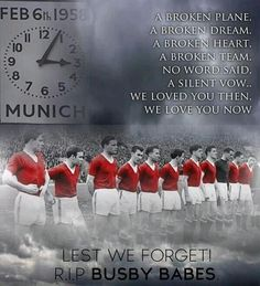 """Anniversary of the Munich Air Disaster that claimed the lives of 8 Manchester United football players and 3 staff. """"We loved you then, we love you now. Manchester United Fans, Manchester United Old Trafford, Visit Manchester, Munich Air Disaster, Eric Cantona, World Football, Football Players, Salford, Man United"""