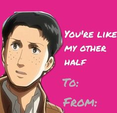 Attack On Titan valentines card. This is terribly funny. Poor Marco