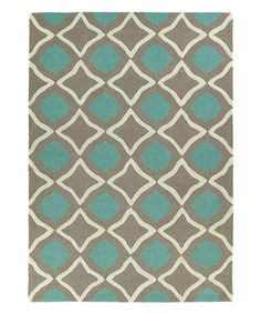 Look at this Light Brown & Teal Cutout Circle Wool Rug on #zulily today!
