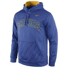 Nike Milwaukee Brewers Royal Blue Speed KO Performance Pullover Hoodie