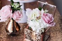 Floral Arrangements from a Copper, Pink & Gold Princess Party via Kara's Party Ideas | KarasPartyIdeas.com (24)