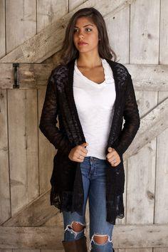 black open cardigan with lace trim sugarloveboutique.com