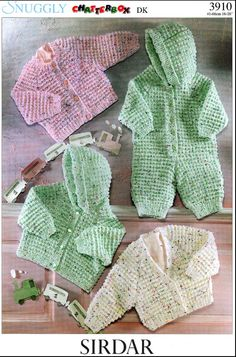 Vintage PDF Baby Knitting Pattern - Sirdar 3910 - cardigan jacket all in one Instant Download onsie
