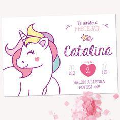 Kit imprimible Unicornio - tienda online Birthday Invitations, Birthday Cards, Baby Christening, Ideas Para Fiestas, Rainbow Birthday, Unicorn Birthday Parties, Princess Party, Holidays And Events, Invitation Cards