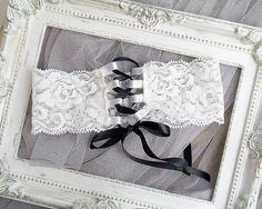 Bridal Lingerie Wedding Garter Corset Style Laced Up Bow Garter,Black and White Lace Sexy Honeymoon Keepsake Romantic Angel
