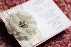 Flower embellishment Lace Invitation by MilanoInk on Etsy