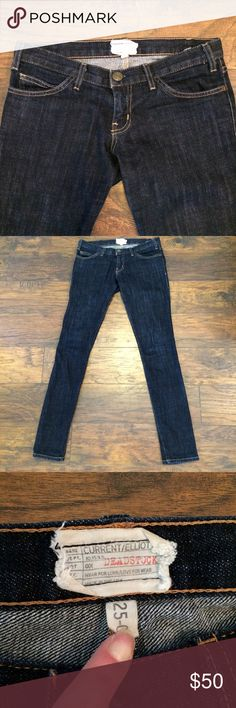 """Current Elliot Skinny Jeans! Sz. 25. Dark rinse skinny. Waist measured flat 14"""", inseam 32"""". Excellent condition. Inside tag  cut out. Smoke free, clean home. Current/Elliott Jeans Skinny"""