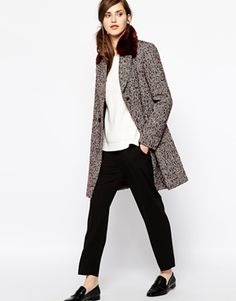 Image 4 of French Connection Moscow Tweed Coat with Faux Fur Collar