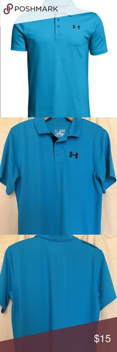 💙 UNDER ARMOUR BOYS POLO SHIRT SIZE Y XL 💙 UNDER ARMOUR Boys short sleeve polo in bright blue. Heat gear fabric wicks away sweat and dries quickly.  Light weight and very comfortable. Perfect for golf, dress, casual or school uniforms. I purchased this for my 14 year old son, but he has outgrown too quickly. First photo from online source. Size Youth XL 💙 Under Armour Shirts & Tops Polos