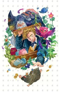 Fantastic Beast and Where to Find Them Harry Potter Traditional Watercolor Painting Art Print - Fantastic Beast and Where to Find Them Harry Potter Traditional Watercolor Painting Art Print - Fanart Harry Potter, Harry Potter Artwork, Harry Potter Wallpaper, Fantastic Beasts Fanart, Fantastic Beasts And Where, The Beast, Watercolor Canvas, Watercolor Paintings, Painting Art