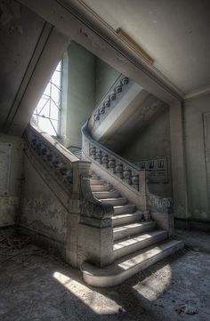 Stairway in an abandoned orphanage in Italy.