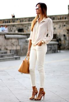 #minimalist street style Love the cream top and jeans. Looks great with gold. I have a watch just like this one.