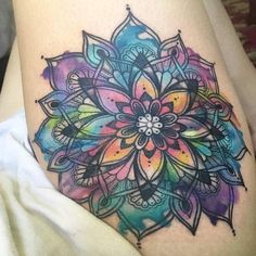 Watercolor mandala flower by Janella