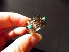 Lässiger Türkis Meditation Silber 925 Ring GR 9 Bewegliche
