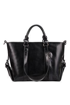 ROMWE Pin Buckle Embellished Three-way-use Black Handbag 37.00