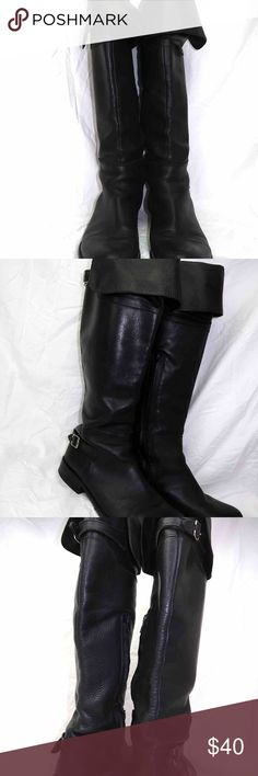 Steve Madden Size 7.5 Black Leather Cuffed Boots