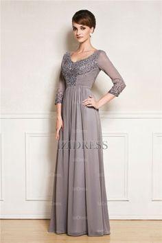A-Line/Princess Bateau Floor-length Chiffon Mother Of The Bride Dress - IZIDRESSES.com