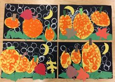 Pre-K and Kindergarten Pumpkin Patch     We created a beautiful fall collage.         The collage highlights many painting techniques ...