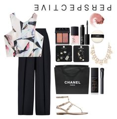"""""""105"""" by obrien91 ❤ liked on Polyvore featuring Iris & Ink, Valentino, NARS Cosmetics, Topshop, Chanel and Forever 21"""