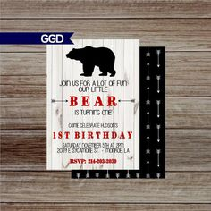 Check out this item in my Etsy shop https://www.etsy.com/listing/456649024/rustic-bear-first-birthday-party