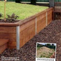 Easy install retaining wall - build a @BZ -@ BZ - boundary without using fasteners, spending just $400 on a DIY galvanised post system for pine sleepers would be great for the way back yard