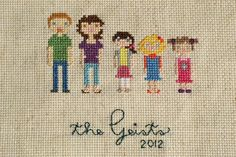 cross stitch family portraits - cute little girls' dresses, and pigtails, Mom's hair, capris and flip flops too!