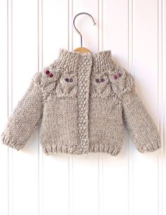 Detsky svetrik so sovickamiDoll clothes knitting pattern PDF for 18 inch by DBDollPatterns