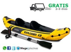 Kayak Explorer K2 de Intex. Remos + asientos +hinchador.
